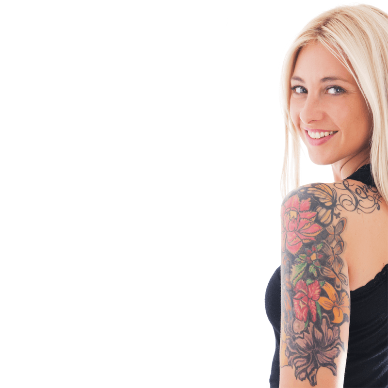 Woman with tattoos on left arm