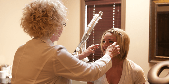 Sheena Daniels consults with Freeman Plastic Surgery injector Nancy Olsen.