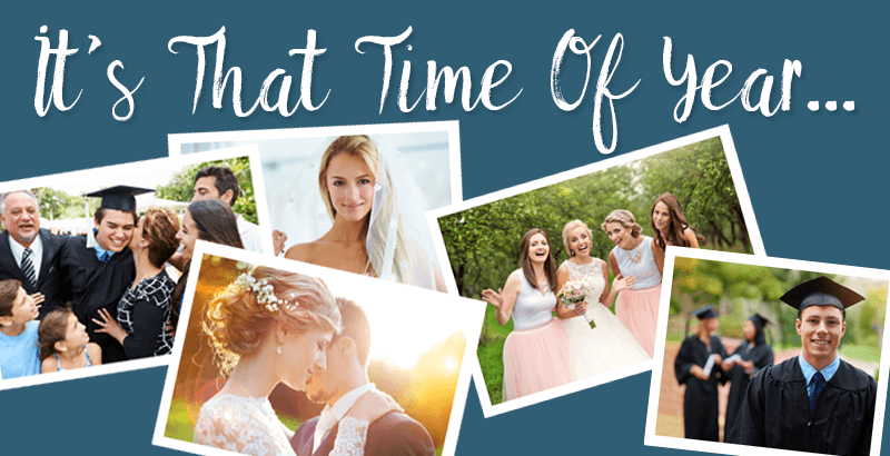 "Collage of wedding and graduation pictures for ""that time of year""."